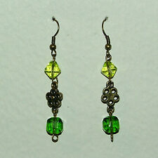 Plated Flower Earrings Sfe Green Glass And Dark Gold