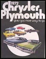1972 Chrysler Plymouth Color Sales Brochure Road Runner