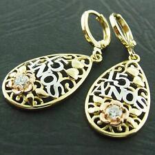 Drop Earrings 18k G/F Multi-Tone Gold Diamond Simulated Filigree Design