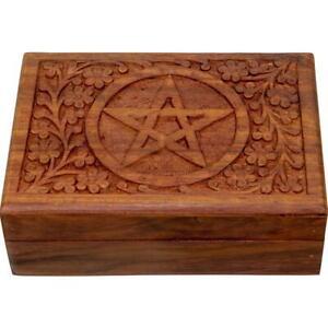 6x4 Inch Pentagram Wooden Box for Tarot Cards, Herbs, Jewelry, Etc.!