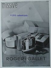 PUBLICITE ROGER GALLET PARFUM MISSIVE MAISON JEAN MARIE FARINA DE 1934 FRENCH AD