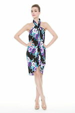 Tropical Cruise Beach Luau Sarong Wrap Dress Shawl Rayon Black Purple Hibiscus