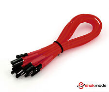 Shakmods Front Panel Red Sleeved Power Reset HDD LED Extension Cable 30cm UK