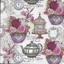Lot de 4 Serviettes en papier Shabby thé Lorraine Decoupage Collage Decopatch