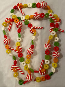 Vintage Plastic Blow Mold Candy Christmas Garland 8.5' Life Savers Candy Canes