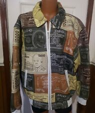 AL WISSAM World Currency Money Brown Tan Patchwork Leather Jacket Size XXL Rare!