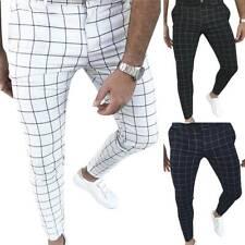 Men Formal Dress Plaid Skinny Pants Slim Fit Casual Business Wedding Trousers US