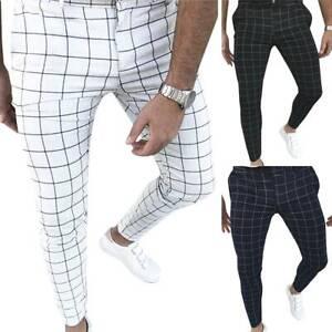 Men Slim Fit Pencil Pants Formal Casual Wedding Business Skinny Plaid Trousers