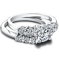 1.5 Ct Real Diamond Engagement Wedding Ring Sets Real Platinum Rings Size 5 6 7