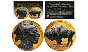1930's 24K GOLD P Indian Head Buffalo Nickel *Full Dates BLACK RUTHENIUM 2-Sided
