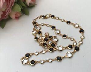 Vintage Art Deco 80s Gold Tone Black Clear Rhinestone Statement Necklace