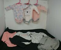 Lot Of 8 Infant Baby Girl Size 0-3 Months One pieces
