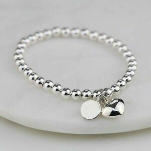 Silver Charm Ball Bracelet Any Initial Letter Engraved Personalised Jewellery