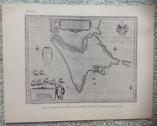 Decorative Map Tierra Del Feugo & Magellan Strait, By Blaeu 1640 Book Plate