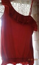 💕Gorgeous Red Double Ruffle One Shoulder Top Size 14 💕