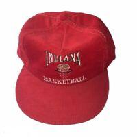 Vintage IU Indiana Hoosiers Basketball Red Corduroy Hat Cap Adjustable RARE NOS
