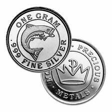 500  - 1 Gram. 999 Fine Silver Rounds - Monarch Salmon - Unc. - New - Redesigned