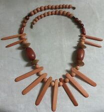 "Vintage BT Metal Multi-Color Wood Bead Wood Spike Bead 25"" Necklace"