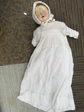 Antique 18 inch Wooden Composition Doll With Cotton Dress