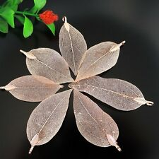 4PCS Red Copper Tone Alloy Leaf Pendant Charms Jewelry Findings 62*25*1mm 39177