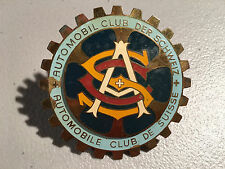 Vintage Grill Badge: Swiss, Schweiz, Suisse Automoble Club, Brass & Cloisonne