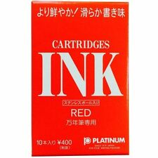 PLATINUM Fountain Pen SPSQ-400 Cartridge Type Dyestuff Ink Red 10 pcs NEW