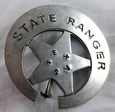 TEXAS STATE RANGER WITH STAR AND CRESCENT MOON SURROUNDING IT METAL POLICE BADGE