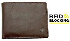 Starhide RFID Brown Tan Leather Wallet With Photo ID And Coin Pocket BOXED 1216