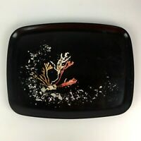 Couroc Serving Tray Abalone Coral Inlay California Mid Century MCM Decor Gift