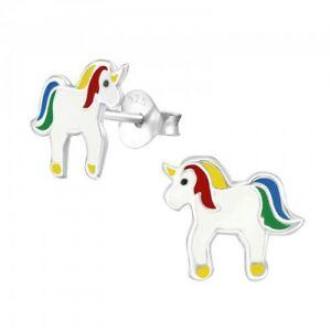 925 Sterling Silver Unicorn Multi-Colour Stud Earrings - Childrens Girls