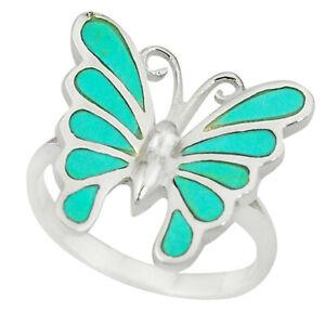 Fine Green Turquoise Enamel 925 Silver Butterfly Ring Jewelry Size 8 C13430