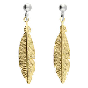 925 HALLMARKED SILVER & 9CT YELLOW GOLD PLATED FEATHER 38MM DROP EARRINGS
