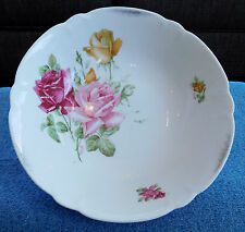 "9"" Scalloped Victorian Style Roses Buds Decorative Bowl Germany German 6 61"