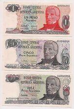 Six Banco Central Argentina  Banknotes--Pristine Condition !!