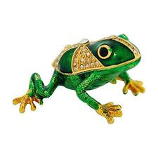 The Olivia Collection Rhinestone Set Trinket/Keepsake Green Frog + Branded Box