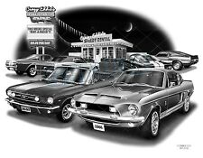 MUSTANG SHELBY 66, 69 Auto Art Car Print  #2108  **FREE USA SHIPPING**