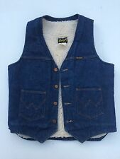 Vintage Wrangler Denim Sherpa Lined Vest Jean Jacket  70s 80s Blue Medium Solid