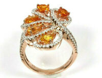 3.7 ctw Natural Yellow Sapphire & Diamond Solid 14k Yellow Gold Cocktail Ring