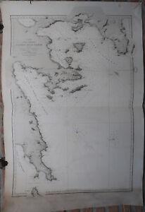 Antique Print-SEA CHART-GREECE-ATHENS-METHANA-SPETSES-Depot de la Marine-1850