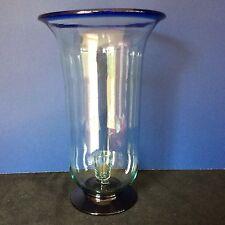 GLASS HURRICANE CANDLE HOLDER COBALT BLUE CLEAR HOME CABIN DESIGNER MEXICO? LRG