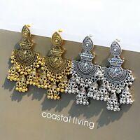 Women's Metal Tassel Jhumka Indian Ethnic Bollywood Boho Dangle Earrings Jewelry