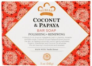 Coconut & Papaya Soap by Nubian Heritage, 5 oz 1 pack