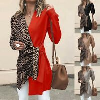 Womesn Ladies V Neck Long Sleeve Leopard Print Cardigan Coat Casual Blouse Tops