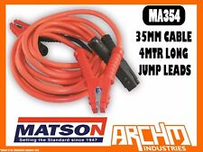 MATSON MA354 35MM CABLE 4MTR LONG JUMP LEADS - BATTERY AMP CLAMPS INSULATED