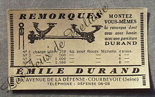 Publicité Remorques en kit Emile Durand   , french advert