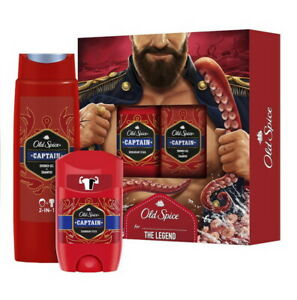Old Spice Captain - Deodorant Stick 50ml and 1 Shower Gel + Shampoo 250ml - New