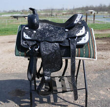 "New 17"" BLACK draft horse western show saddle 10"" gullet by Frontier -THE BEST"