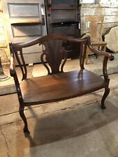 Vintage Antique Solid Wood Bench Settee Walnut Mahogany