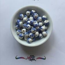 10 x ROUND FLOWER BLUE AND WHITE CERAMIC PORCELAIN CLAY Beads 10mm