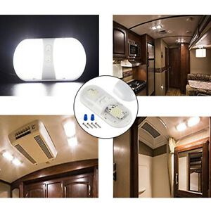 12V Double Dome Ceiling LED Light Roof SMD Camper 6.8 Watts Car RV Boat Trailer